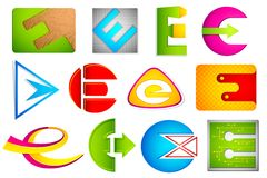 Different Icon with alphabet E Stock Photos
