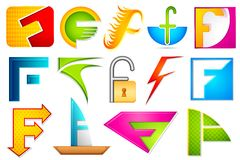 Different Icon with alphabet F Royalty Free Stock Images