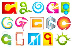 Different Icon with alphabet G Royalty Free Stock Photo
