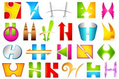 Different Icon with alphabet H Stock Photo