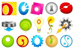 Different Icon with alphabet O Stock Photo