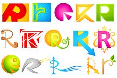 Different Icon with alphabet R Royalty Free Stock Photo