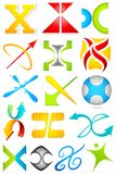 Different Icon with alphabet X Stock Images