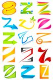 Different Icon with alphabet Z Royalty Free Stock Photo
