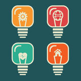 Different icon in bulb. Stock Royalty Free Stock Photo