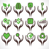 Different icon in hand Stock Image