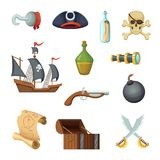 Different icon set of pirate theme. Skull, treasure map, battle ship of corsair and other objects in vector style. Illustration of pirate ship, treasure and Royalty Free Stock Photography