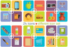 Different icon set. Vector. Different icon set. Flat style Royalty Free Stock Photography