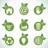 Different icons and design with green leaf Stock Photos