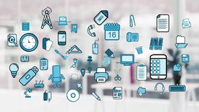Different icons. Digital animation of different icons moving in the screen with a blurred background of a white office stock illustration