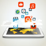 Different icons flows to the map Royalty Free Stock Photography