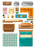 Different icons of furniture top view. Vector illustrations for create layout of apartment Stock Images