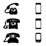 Different icons with phone. On white background Stock Photo