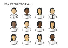 Different  icons / symbols of avatar heads and faces with various skin colors for men and women Royalty Free Stock Photos