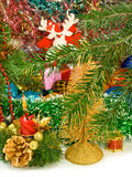 Different image of beautiful Christmas decorations and Christmas tree Stock Photography