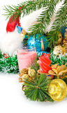 Different image of beautiful Christmas decorations and Christmas tree Stock Image