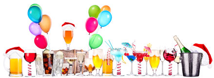 Different images of alcohol with balloons Royalty Free Stock Images