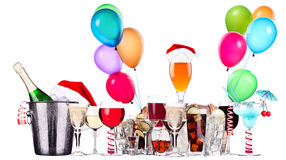 Different images of alcohol with balloons Stock Photos