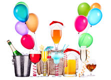 Different images of alcohol with balloons Royalty Free Stock Photography