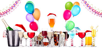 Different images of alcohol with balloons. Alcohol drinks set with lot of air balloons - beer, wine, champagne, cola, scotch, brandy royalty free stock image