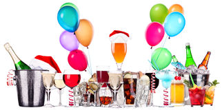 Different images of alcohol with balloons Stock Images