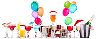 Different images of alcohol with balloons Royalty Free Stock Photos
