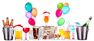 Different images of alcohol with balloons Royalty Free Stock Photo