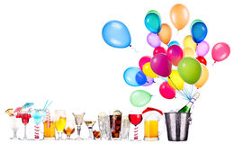 Different images of alcohol with balloons. Alcohol drinks set with lot of air balloons - beer, wine, champagne, cola, scotch, brandy stock image