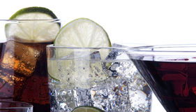 Different images of alcohol isolated. Martini,soda,whiskey,wine royalty free stock images