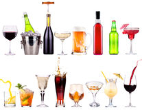 Different images of alcohol isolated. Beer,martini,champagne,cola,wine,juice stock photo