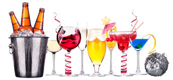 Different images of alcohol isolated Stock Photography