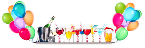 Different images of alcohol on a tray Royalty Free Stock Photography