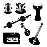 Different Indian and Turkish musical instruments Royalty Free Stock Image