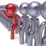 Different individuality man stand out from the crowd icon. Different individuality man stand out from the crowd character people unique red think differ person Royalty Free Stock Images