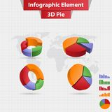 4 different infographic element 3D pie chart vector. Concept template design Stock Photo