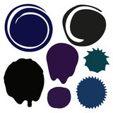 Different ink blots  on white Royalty Free Stock Images