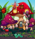 Different insects living in the mushroom house royalty free illustration