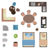 Different interior icons top view  on white. Vector illustration Stock Images
