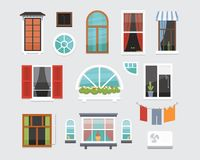 Different interior windows of various forms vector illustration. Architecture design outdoor or exterior view, building. And home theme vector illustration