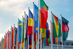 Different international flags. Many different international flags seen at a fair center Royalty Free Stock Photography