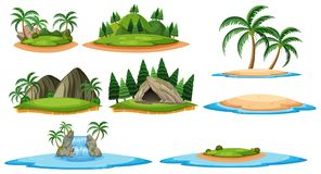 Different islands and forest scenes. Illustration Royalty Free Stock Images
