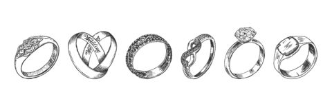 Different isolated jewelry rings set royalty free stock images