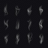 12 different isolated smoke. Realistic smoke. Cigarette smoke waves.. Isolated steam. Smoke set. Smoke texture. Smoke isolated. Vector smoke. Smoke on Stock Photography