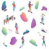 Different isomeric 2d flat people in public park. Male and female have outdoor activity vector illustration. Different isomeric 2d flat people in public park vector illustration