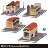 Different isometric buildings Royalty Free Stock Photos