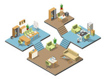 Different isometric modern offices with furniture. Several floors in business center. Vector illustration set Royalty Free Stock Image