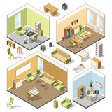 Different isometric workspaces with sectional furniture. Vector 3d architectural plan. Isometric interior office cabinet with modern computer and table Stock Photos