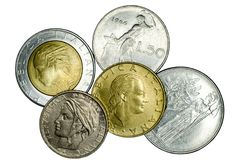 Different Italian coins royalty free stock photography