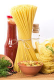 Different Italian kinds of pasta with tomato sauce Stock Photo