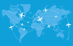 Different jets paths. Civil airplanes trajectories Stock Photos